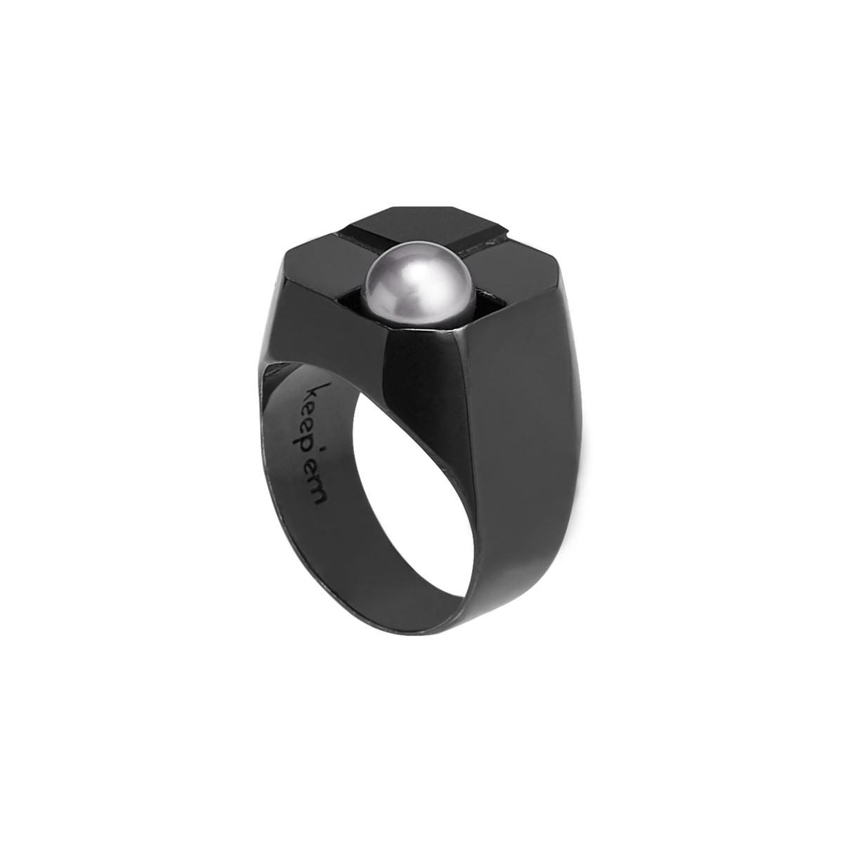 DELUSION pearl signet ring(BLACK)