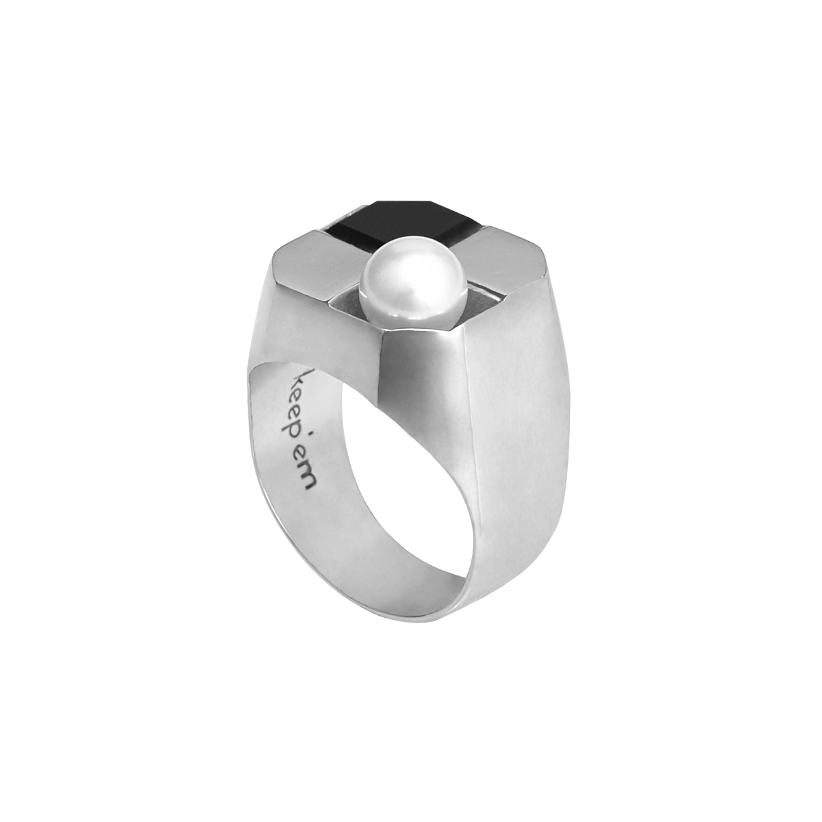 DELUSION pearl signet ring(WHITE)